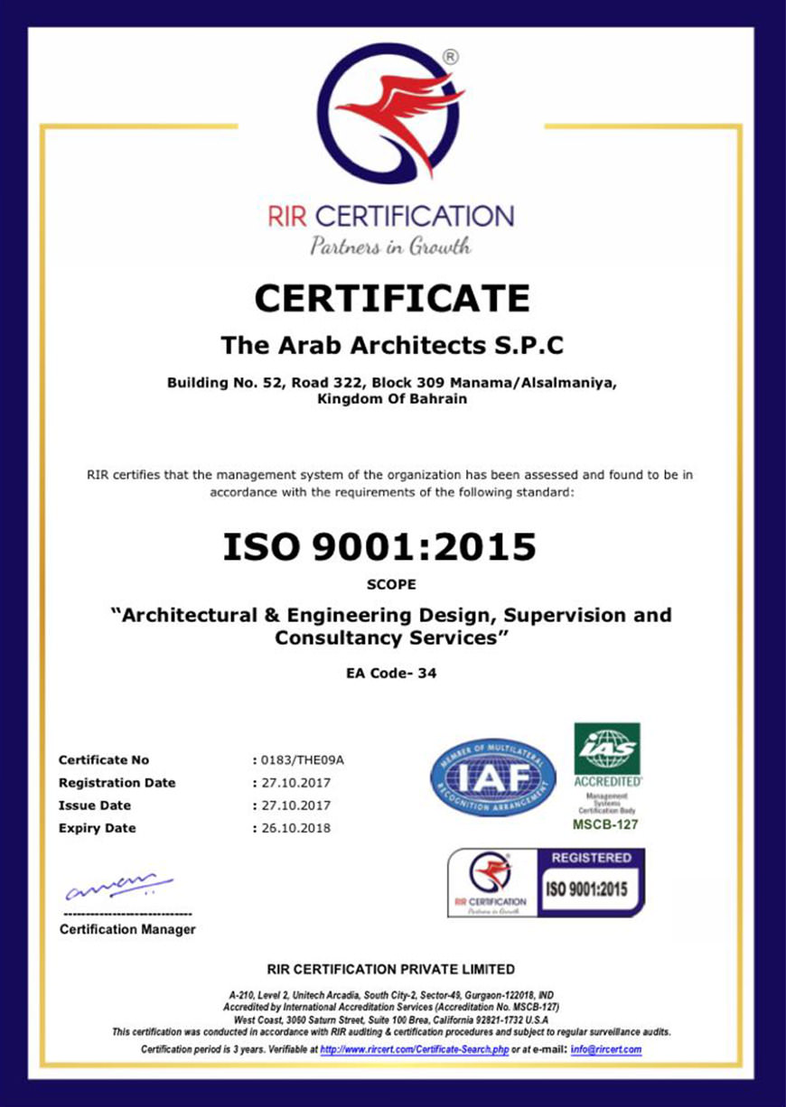 Arab Architects Receives ISO 9001:2015 International Certification